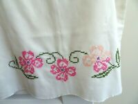 """Vintage Pillow Case- -Embroidered - 20"""" x 30""""-White w. Pink"""