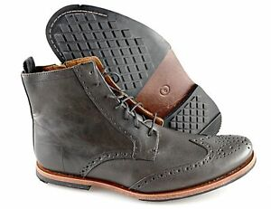 Men's TIMBERLAND 'Wodehouse' Charcoal Grey Leather Wingtip Boots Size US 8 - D