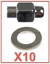 Set 10 Wheel Lug Nuts Mag Chrome with Washer EXPEDITED Shipping.