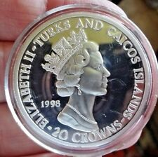 1998 Turks and Caicos 20 Crowns Diana Memorial FIne Silver Proof