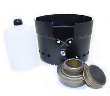 Original 3 Piece Swedish Army Field Cook Set Brass Meths Burner Stove Black NEW