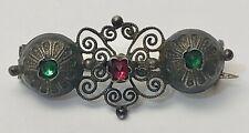 ☛ silberne 800er Trachten Brosche um 1880 mit Rubin und Smaragd  ☚