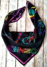 Immaculate Warm KENZO 100% Virgin Wool Scarf 65×65cm Animal Multi Italy