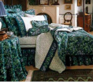 Laura Ashley Green Floral Twin Dust Ruffle Bed Skirt- Bramble Berry