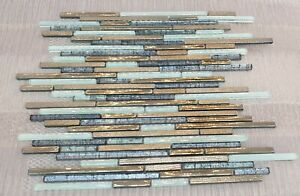 White Blue & Gold Glass Mosaic Tiles | 1 sheet 300x300x8mm | 11 Sheets 1sqm