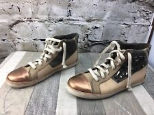 Sam Edelman Holden Sz 9 Pink Rose Gold stud MetalCap toe High top Sneakers Shoes
