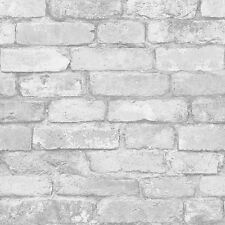WHITE & SILVER RUSTIC BRICK EFFECT WALLPAPER - WINDSOR WALLCOVERINGS - FD41488