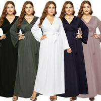 Plus Size Women Sexy Fashion Maxi Evening Party V-Neck Tank Long Sleeve Dress