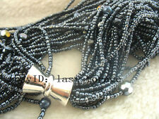 """20rows freshwater pearl gray & quartz baroque necklace 20"""" wholesale nature bead"""