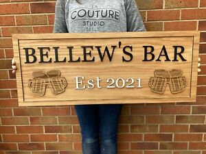 Personalised Wooden Oak Veneer Wooden Bar Sign - Any colour - Beer, Gin - Plaque