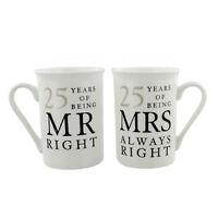 25 Years Mr & Mrs Mugs Amore Mug Set In A Gift Box Silver Anniversary Gifts