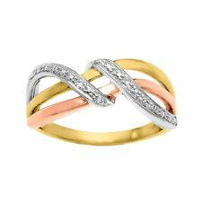 Three B& Ring w/ Diamond Accents in 18K Rose & Yellow Gold over Sterling Silver