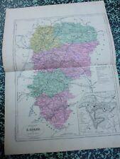 Carte géographique couleur 19°:         L'AISNE avec plan de LAON