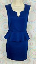 New Women Sleeveless Peplum Dress Size S Small Royal Blue NWOT