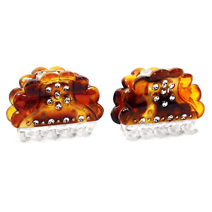 2x Hair Claw Clips, Small - Tortoise Pattern with Shimmering Rhinestones _183-21