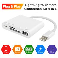 4 in 1 USB Camera Connection Kit SD Card Reader Adapter for Apple iPhone iPad 4