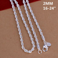 Fashion 925 Sterling Silver Wrest Rope Chain 2mm Necklace 16,18,20,22, 24 inch