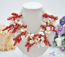 """P5294 6ROW 19"""" WHITE BAROQUE FRESHWATER PEARL RED CORAL branch NECKLACE"""