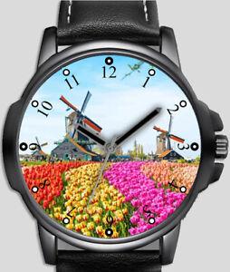 Windmill Country Scene Stylish Rare Quality Wrist Watch