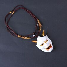 Vintage White Evil Oni Noh Hannya Mask Necklace Resin Mask Pendant Necklace Gift
