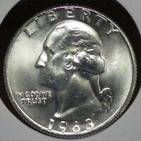 1963-D Silver Washington Quarter Choice BU     SQ 1-7