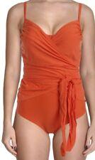 It Figures! Womens Swimsuit Size 8 $100 Orange Surplice Wrapture 1-Pc Swimwear