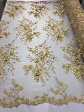 Bridal Fabric - Gold Lace 3D Flower-Floral Embroidered Mesh Pearls By The Yard