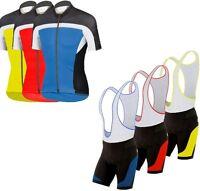 Mens Cycling Jersey Half Sleeve Top Racing Team Biking Top + Bib shorts set