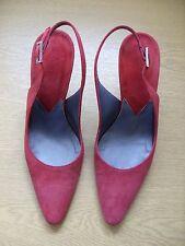 Ladies Shoes HOBBS crimson leather suede sling-backs, UK 3.5 EU 36, Italian 3290
