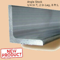 Aluminum Angle 1/4 Inch x 2 Inch x 8 Ft Smooth Unpolished Metal Alloy Stock NEW