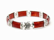 Red Jade White Gold Plated Fortune Link Clasp Bangle Bracelet