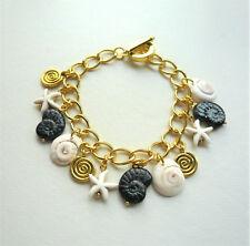 Black Glass Cream Howlite Gold Plated Shell Starfish Chain Link Bracelet  KC2214
