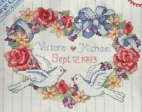 1992 NIP VG Counted Cross Stitch Embroidery Kit Floral Heart Wedding Record 7389
