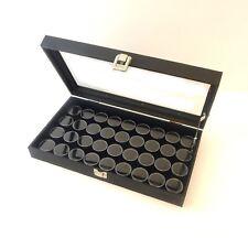 Glass Top 36 Gem Black Jar Display Organizer Storage Case with Lid Support