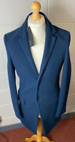 "M&S Autograph Mens Petrol Blue Wool Rich Coat 4XL 52-54"" Chest 38"" Long RP£129"