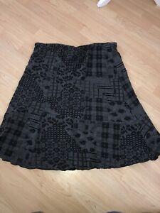 Per Una Ladies Grey Black Light Floral Pattern Skirt Elasticated Waist Size 18