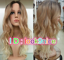 2018 Ladies Front lace Wigs Curly Long Wavy hair brown Golden Blonde mixed wig