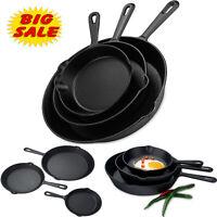 3 Piece Cast Iron Skillet Pan Set Cookware Pre-Seasoned Stove Oven Fry Pans Pots