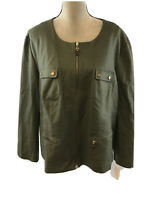 NEW Charter Club Women's Green Long Sleeve Full Zip Military Jacket Sz 24W