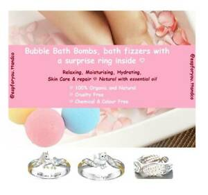 Bubble Bath Bombs, bath fizzers with a cute surprise ring inside ♡