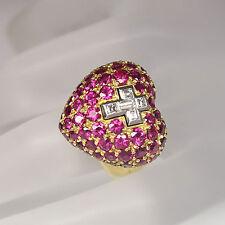 Sévigné Ring OMNIA VINCIT AMOR Herzring mit Kreuz Diamant und Rubin Besatz 18K