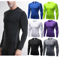 Men Compression Long Sleeve Running Shirt Thermal Base Layer Gym Fit Sports Tops