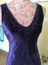 This Season Must Buy Monsoon Purple Embellished Fishtail Dress Size 10 Hols 11/9