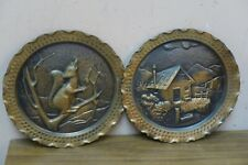 Set of 2 Italian Embossed Copper Plate Artigiani Trentini Trento Italy 7.5""
