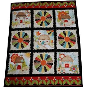 Dresden Plate And Cottages Lap Quilt 42x34 Free Motion on Fabric Panel