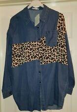 Cotton Club Denim Leopard Print Oversized Shirt
