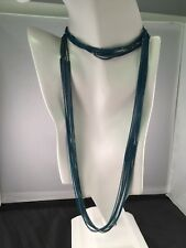 """10 Strand Brass Necklace 35 + 2"""" Designer Amy Russell Blue Enameled Liquid Chain"""