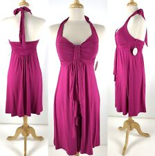 New SOMA Halter Dress S Festival Fuchsia Removable Cups Front Detail Rayon Spndx