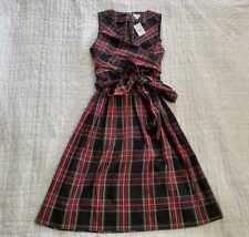 NEW WOMEN'S J CREW FACTORY TARTAN V-NECK WRAP DRESS STEWART BLACK RED PLAID