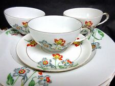 7 pc Set Antique AMC Auguste Mouzin 3 Cups & 4 Saucers Germany China Only